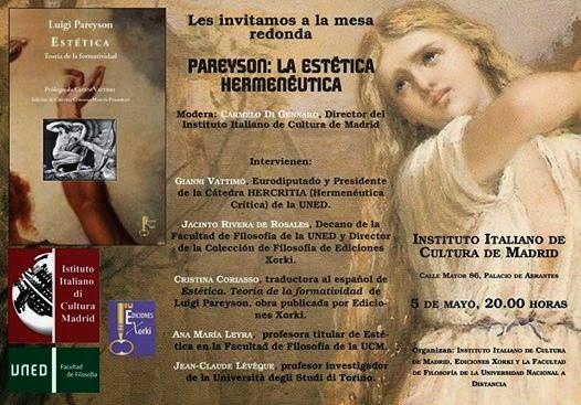 Pareyson la est tica hermen utica hoy en el instituto de for Instituto italiano de cultura madrid
